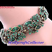 SALE 26020a - Vintage Hollycraft 1950 Emerald Green Wide Bracelet