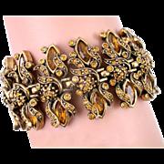SALE 26176a  Vintage Hollycraft 1950 Topaz Color Rhinestones Rare Extra Wide Bracelet