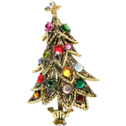 SALE 27927a - Vintage Hollycraft Multi Color Stones Four Tiers Christmas Tree Pin