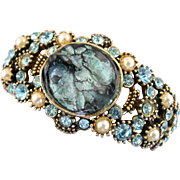 """SALE 28124a  HOLLYCRAFT RARE """"Haskell Look"""" Aqua & Pearls Double Hinged Bracelet"""