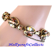 SALE 28191a -Vintage Hollycraft 1959 Brown Topaz Yellow Rust Peach AB Bracelet