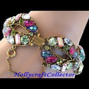 SALE 28222a - Rainbow Multi Color HOLLYCRAFT Wide Bracelet