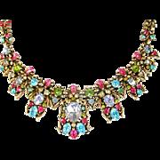 SALE 28472a - Vintage Hollycraft 1950 Multi Color Pastel Huge BIB Drape Necklace