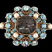 "SALE 28530a - RARE HOLLYCRAFT ""Haskell Look"" Aquamarine Color & Pearls Brooch"