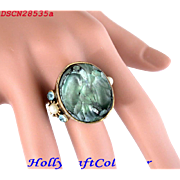 """SALE 28535a - RARE HOLLYCRAFT """"Haskell Look"""" Aqua Color & Pearls Ring"""