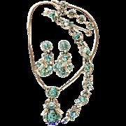SALE 28558a - HOLLYCRAFT Turquoise Cabochons & Aqua Oval Stones 3-Piece Pendant Set