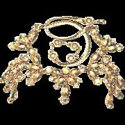 SALE 28754b - Vintage Hollycraft 1955 Crystal AB Dangling Necklace & Earrings Set