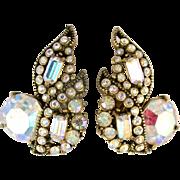 SALE 28773a - Vintage Hollycraft 1955 Clear AB Rhinestones Headlight Clip Earrings