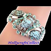 SALE 28827a - Vintage Hollycraft 1958 Aqua Sea Shell Chain Bracelet