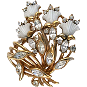SALE 28868a - Vintage HOLLYCRAFT 1953 Carved Tulips & Clear Rhinestones Brooch/Pin