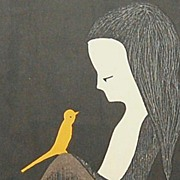 SOLD 1960 Kaoru Kawano ~ Girl w/ Yellow Bird Signed & Framed Print