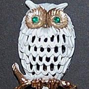 SALE NAPIER White Owl w/ Green Rhinestone Eyes Pin