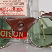 SALE Art Deco Mad Scientist Green Glass & Leather Safety Glasses