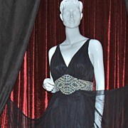 SOLD 1970/80s Mike Benet ~ Black Chiffon Goddess Formal Gown