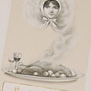 1913 John Winsch ~ Lady in Smoke Thanksgiving Postcard