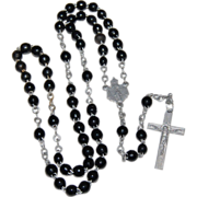 SALE French Black Glass Bead Rosary