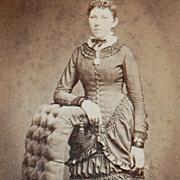1880s Victorian Lady w/ Beautiful Dress & Elegant Chair Photo