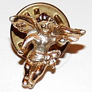 SALE Vintage Goldtone Cherub Putti Tie Tac Pin  ~ Made in USA