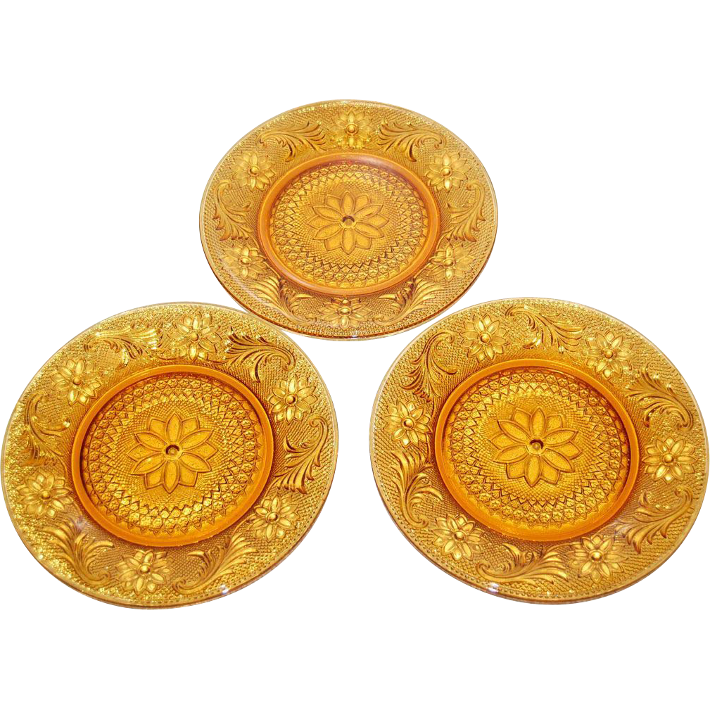 1970s Indiana Glass ~ Tiara Sandwich Amber Luncheon Plates