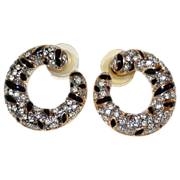 SALE 1980s Carolee ~ Black Enamel & Clear Rhinestone Earrings