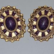 SALE 1980s Huge Wicked Purple Cabochon Pierced Earrings