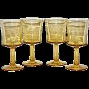 SALE 1970s Set of 4 Light Amber Wine Glasses