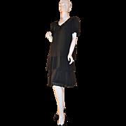 SALE 1980s Ann Hobbs ~ Deco Revival Black Chiffon & Sequin Dress