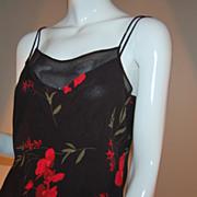 1980s Joseph Ribkoff ~ Black & Red Floral Camisole ~ ILGWU