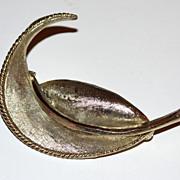 SALE Vintage BSK ~ Heavy Silvertone Leaf Brooch/Pin