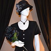 1970/80s Dawn Joy ~ Long Black Button Dress
