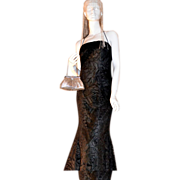 SALE 1980s Niki Livas ~ Black Rose Halter Dress