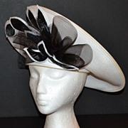 1980s Deborah ~ Woven White w/ Black Tulle Accent Hat