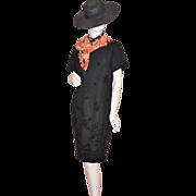 1980s Helen Blake ~ Black Rose Dress