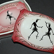 Art Deco 4-Pc Josephine Baker Style Pink Cigarette Box w/ Ashtrays