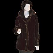 SALE 1960s AVS ~ Chocolate Brown Faux Mink Fur Coat w/ Matching Hat