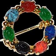 SALE Vintage Scarab Faux Gemstone Goldtone Circle Brooch/Pin