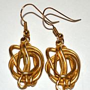 SALE 1970s Tortured Metal Goldtone Dangle Earrings