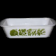 SALE Glasbake Garden Herb White Milk Glass Casserole or Loaf Pan / Baking Dish