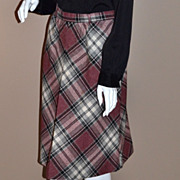 SALE 1970s Ann Stevens ~ ILGWU Mauve Wool Plaid Skirt