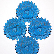 SALE 1940s Set of 4 Spiky Blue Flower Curtain Tacks