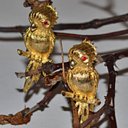 SALE Signed JJ ~ Pair of Red Rhinestone-Eyed Parrot Pins