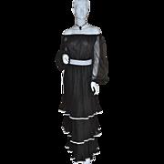 1970s Jack Bryan ~ Black Triple-Tiered Dress w/ Original Tag