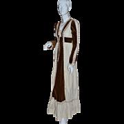 SALE 1970s Gunne Sax ~ Renaissance Brown Velvet & Lace Maxi Dress