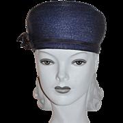 SALE 1960s Valerie Modes ~ Navy Blue Structured Hat