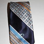 Pierre Cardin ~ Blue Signature Tie ~ Paris New York
