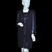 1980s Ann Hobbs ~ Black Chiffon Rhinestone Jacket Style Dress