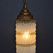 SALE 1960s Frosted Diamond Point Glass Swag Light w/ Brass Canopy