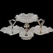 SALE Cherub Diamond Point Glass Candy Dish Set