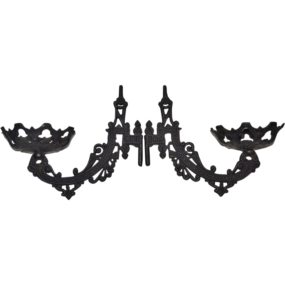 Set of 2 Black Cast Iron Gothic Architectural Hardware