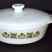 1960/70s Fire King ~ 1 QT Meadow Green Casserole Dish w/ Lid